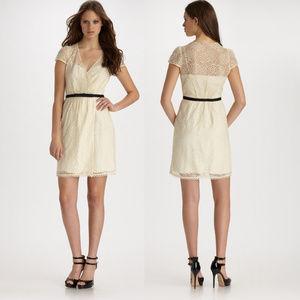 Milly Vintage Cream Lace Dress w/ Black Belt Sz 0